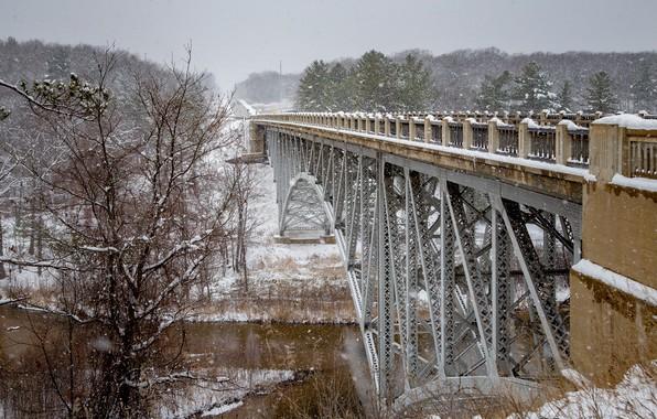 Картинка зима, снег, деревья, мост, река, Мичиган, Michigan, Река Пайн, Cooley Bridge, Pine River