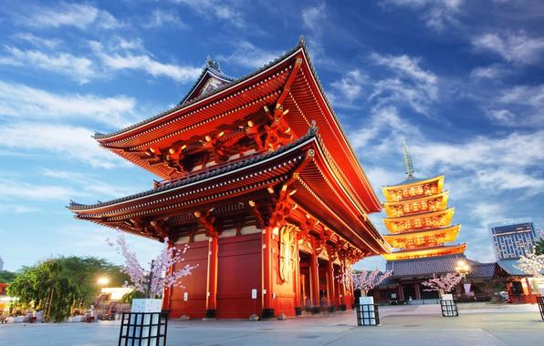 Картинка небо, облака, деревья, огни, дома, вечер, Япония, Токио, фонари, храм, Asakusa Kannon Temple