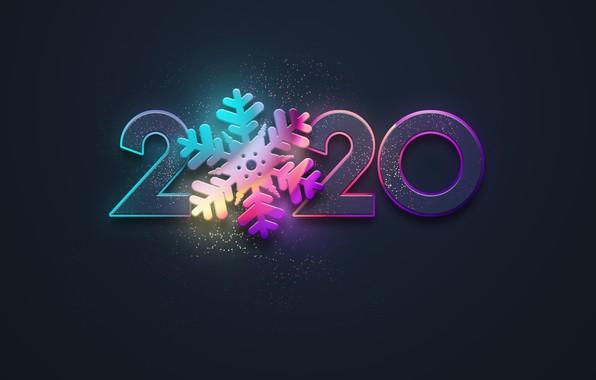 Картинка новый год, colors, неон, черный фон, new year, happy, neon, 2020