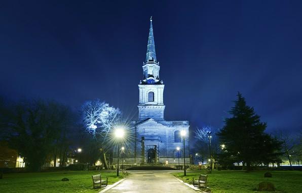 Картинка Англия, вечер, подсветка, церковь, Вулверхэмптон