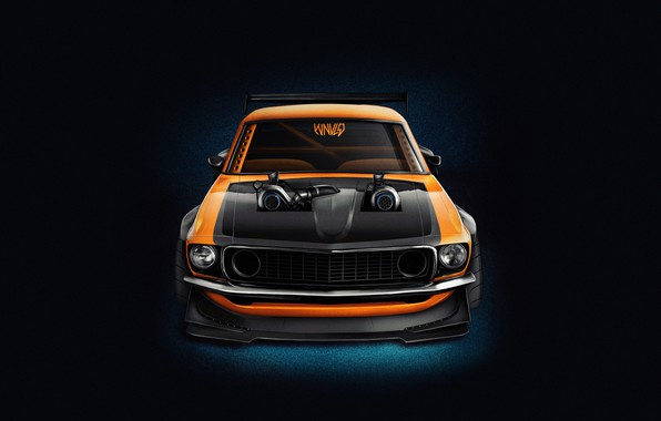 Картинка Mustang, Ford, Авто, Машина, Оранжевый, Фон, 1969, Car, Ford Mustang, Muscle car, Передок, Рендер, Transport …