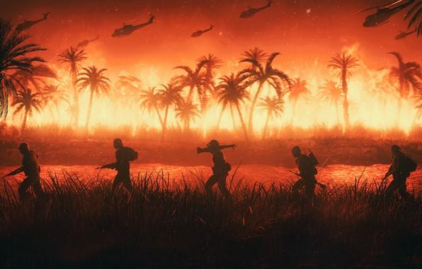 Картинка Огонь, Война, Вертолет, Пальмы, Солдаты, Армия, США, Jungle, Fire, Вьетнам, War, Vietnam, helicopter, Вертолеты, M16, …