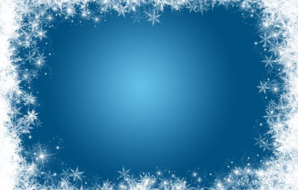 Картинка зима, снег, снежинки, фон, Christmas, winter, background, snow, snowflakes, frame
