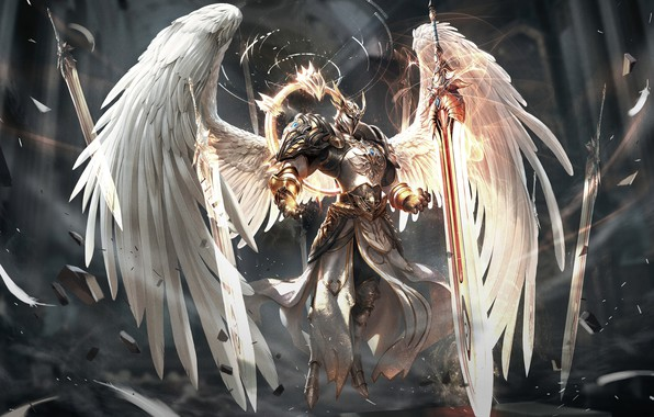 Обои Ангел, Меч, Крылья, Fantasy, Арт, Art, Angel, Sword, Wings, Game Art, Era of Angels, Era …