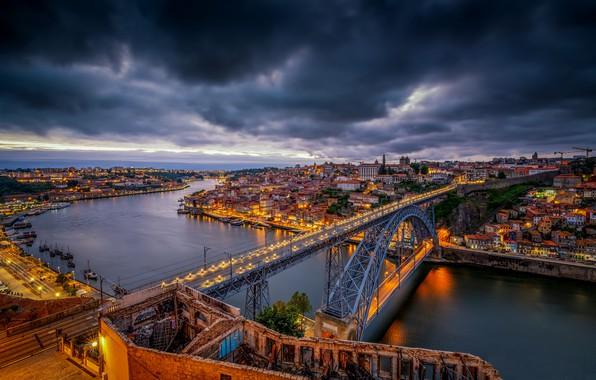 Картинка мост, река, Португалия, ночной город, Portugal, Vila Nova de Gaia, Porto, Порту, река Дуэро, Вила-Нова-ди-Гая, ...