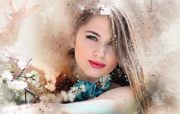 Картинка девушка, цветы, фон