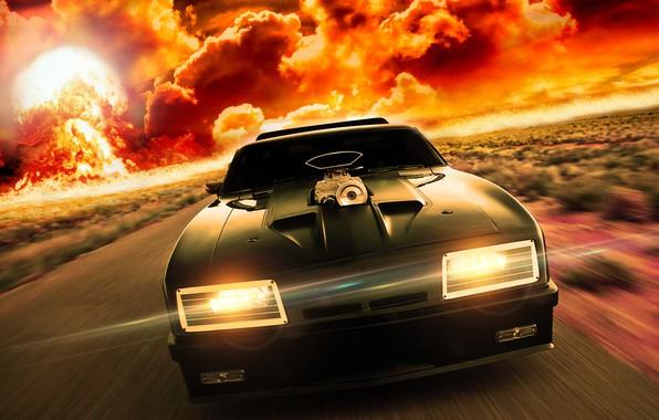 Картинка дорога, авто, буря, mad max, Ford Falcon, безумный макс