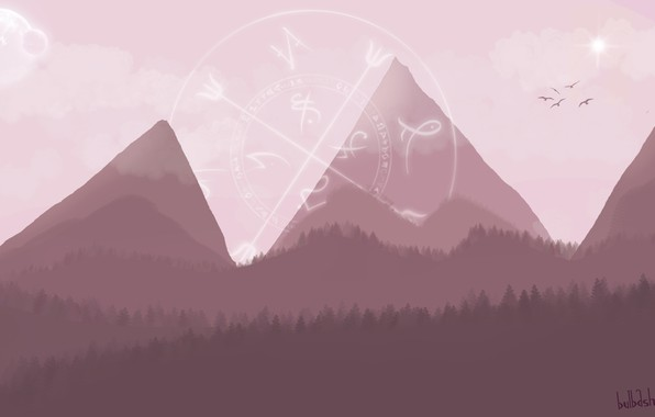 Картинка деревья, пейзаж, горы, птицы, земля, минимализм, планетa, авторская