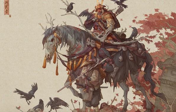 Картинка sword, fantasy, armor, skulls, art, katana, men, death, horse, samurai, weapons, artwork, warrior, drawing, creature, …