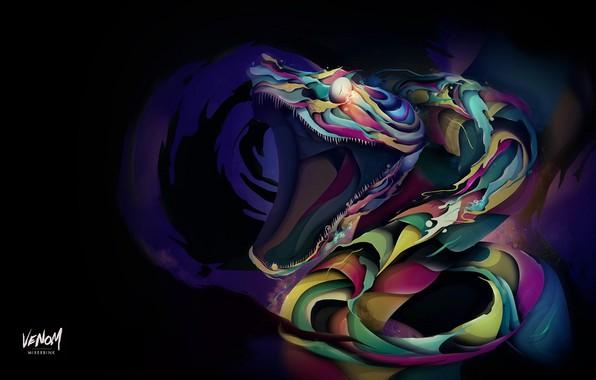 Картинка страх, зубы, пасть, ужас, кобра, art, в темноте, ядовитая змея, Mixerbink