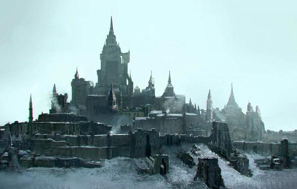 Картинка Замок, Архитектура, Арт, Фантастика, Стены, Castle, Concept Art, Architecture, Emmanuel Shiu, Environments, The last Knights, ...