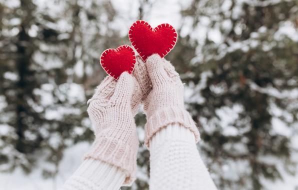 Картинка зима, снег, любовь, сердце, love, heart, winter, варежки, snow, romantic, hands, valentine