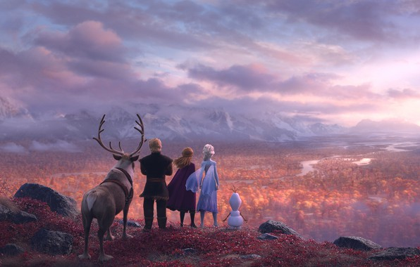 Картинка Frozen, Red, Fantasy, Nature, Blizzard, Beautiful, Anime, Wood, Winter, Anna, Tree, Queen, Snow, Girls, Female, …