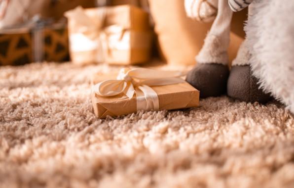 Картинка макро, подарок, ковер, игрушка, интерьер, бант, gift, bow