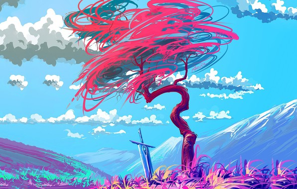 Картинка colorful, sword, fantasy, sky, art, clouds, mountain, tree, artist, digital art, artwork, fantasy art, painting …