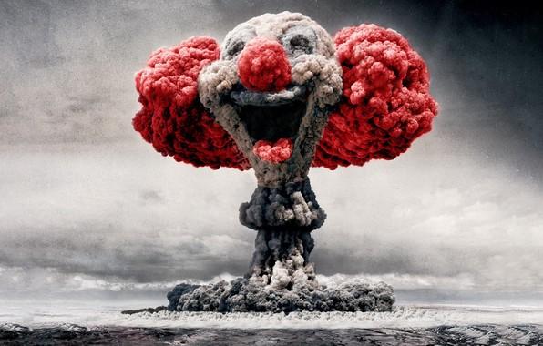 Картинка клоун, ядерный взрыв, explotion, nuclear clown, ядерный клоун