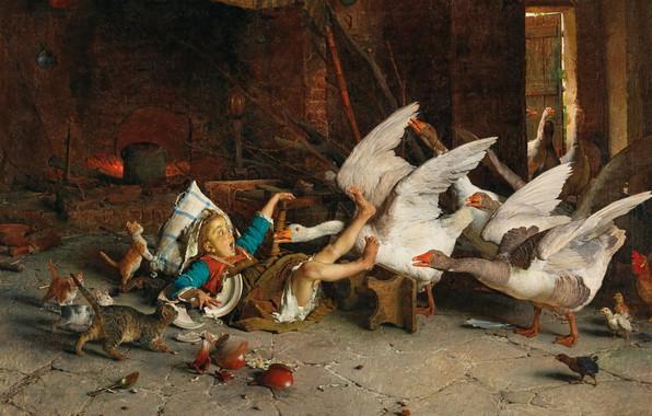 Картинка 1888, итальянский художник, Italian painter, Гаэтано Чиерици, Gaetano Chierici, oil on canvas, Удивление!, Surprised!