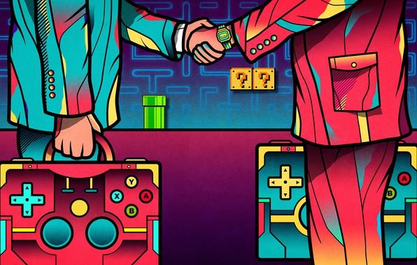 Картинка Цвет, Игры, Игра, Люди, Стиль, Марио, Арт, Games, Art, Mario, Джойстик, Style, Color, Game, People, …
