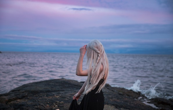 Картинка море, девушка, блондинка, длинные волосы