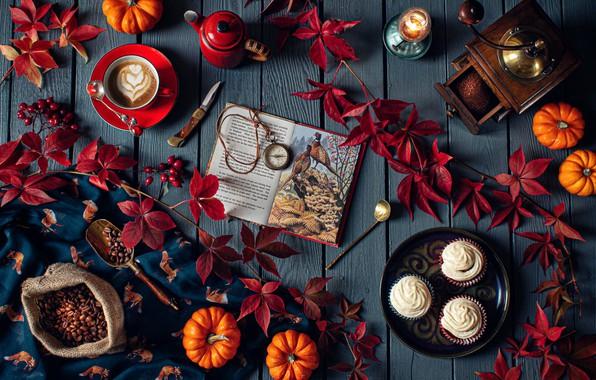 Картинка листья, ветки, стиль, кофе, книга, натюрморт, кофейные зёрна, пирожные, кофемолка