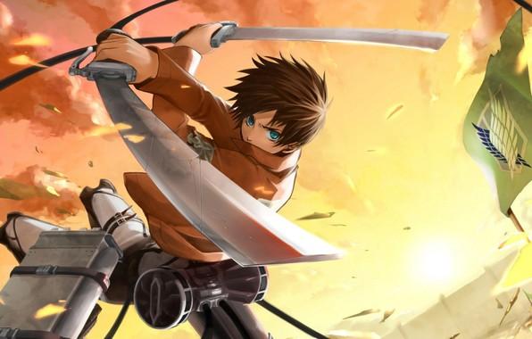 Картинка стена, эмблема, сражение, клинки, военная форма, Shingeki no Kyojin, Eren Yeager, розовое небо, привод, Вторжение …