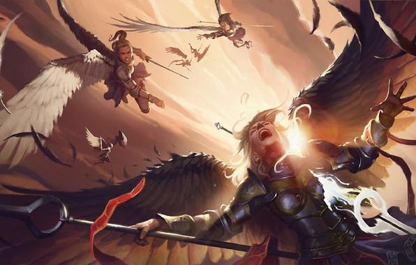 Картинка доспехи, сражение, копьё, в небе, смертельная битва, бросок, valkyrie, белые крылья, валькирии, by Pindurski