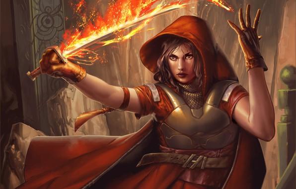 Картинка взгляд, девушка, оружие, огонь, магия, фэнтези, арт, капюшон, перчатки