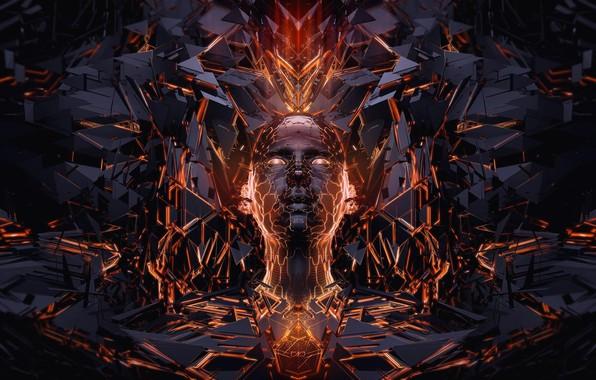 Картинка лицо, графика, black, orange, face, 3d art