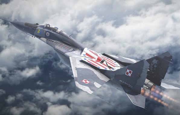 Картинка МиГ-29, четвёртого поколения, Fulcrum, ОКБ МиГ, советский многоцелевой истребитель, ВВС Польши