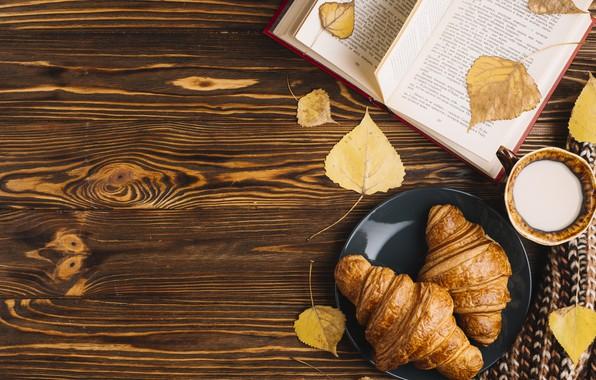Картинка осень, листья, colorful, чашка, книга, wood, background, autumn, leaves, cup, book, croissant, круассан, milk
