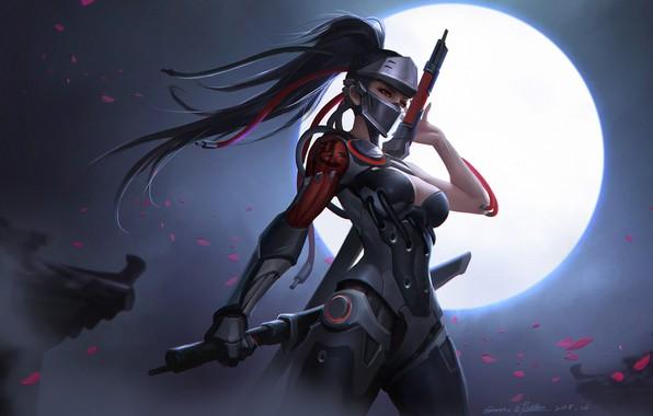 Картинка girl, moon, sword, fantasy, game, cleavage, armor, long hair, breast, red eyes, ponytail, digital art, ...