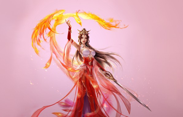 Картинка Girl, Fantasy, Beautiful, Art, Asian, Style, Phoenix, Illustration, Asia, Sword, Characters, Dress, 3Q STUDIO