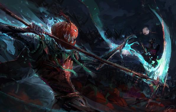 Картинка ночь, монстр, пасть, Halloween, сражение, полнолуние, art, коса смерти, зло тыквы, Jason Nguyen, Восстание тыкв, …