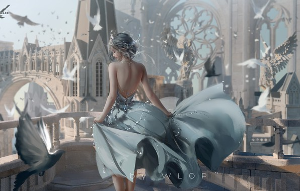 Картинка fantasy, dress, birds, castle, elf, digital art, artwork, architecture, princess, fantasy art, jewelry, balcony, doves, …