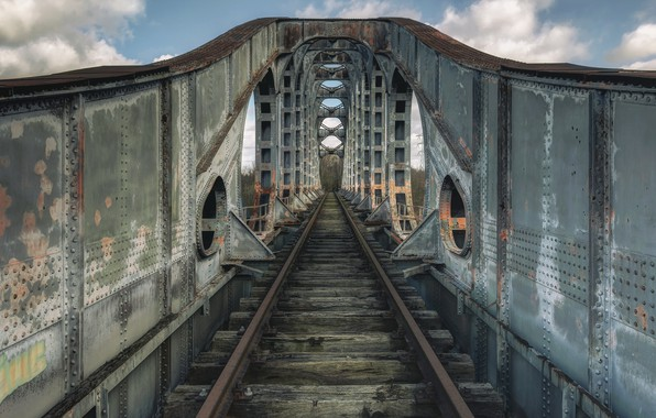 Картинка дорога, мост, железная дорога