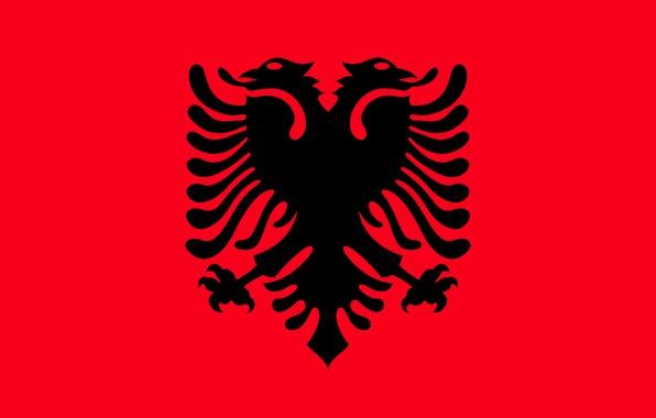 Картинка флаг, red, орёл, black, eagle, албания, fon, flag, albania