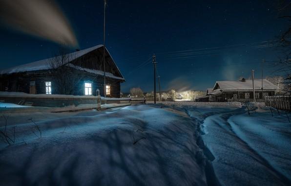 Картинка зима, снег, пейзаж, ночь, природа, село, дома, звёзды, освещение, Урал, Пермский край, Андрей Чиж