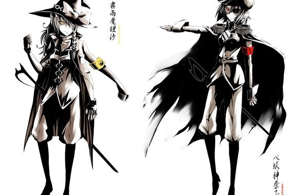 Картинка военная форма, желтые глаза, сабля, повязка на глаз, черный плащ, мундир, шляпа ведьмы, Touhou Project, …