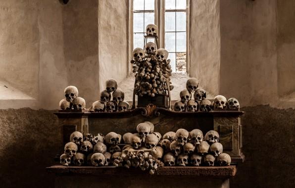Картинка черепа, религия, алтарь