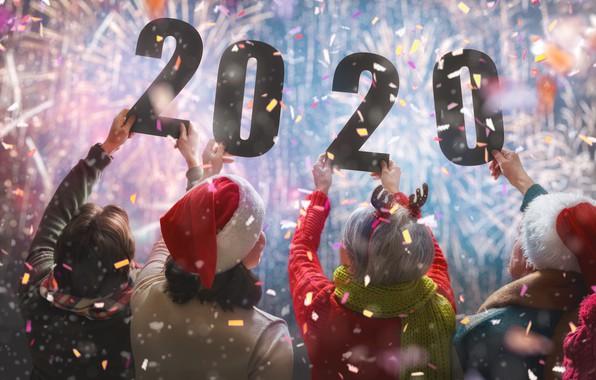 Картинка фото, Люди, Руки, Новый год, Сзади, 2020, Конфетти