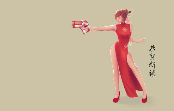Картинка Art, Weapon, Minimalism, Chinese, Dress, Mei, Overwatch, Game Art, Mei-Overwatch, Apipol Chongjiamjit, Sahlea