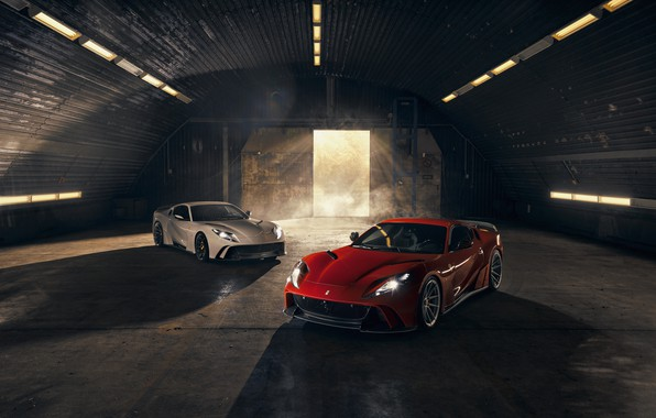 Картинка свет, машины, фары, ворота, ангар, Ferrari, спорткар, Superfast, 812, Novitec N-Largo