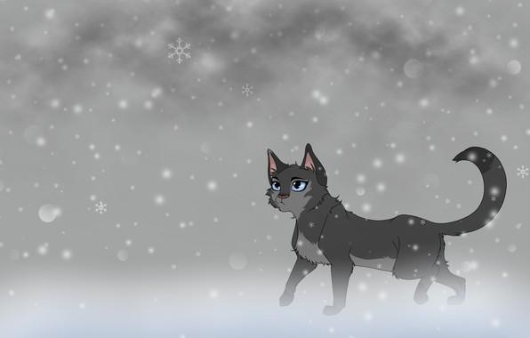 Картинка кошка, снег, фон, арт