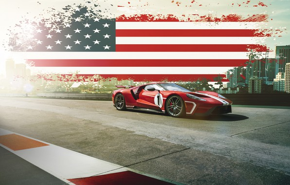 Фото обои Ford, Muscle, USA, RED, America, SuperCar