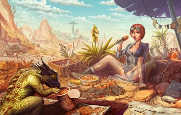 Картинка девушка, испуг, нож, ящер