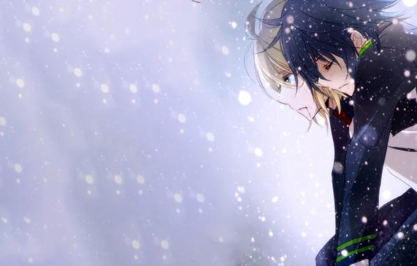 Картинка снег, парни, Owari no Seraph, Последний серафим, Юичиро Хакуя, Микаэла Хакуя