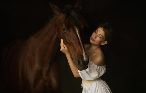 Картинка девушка, лошадь, дружба