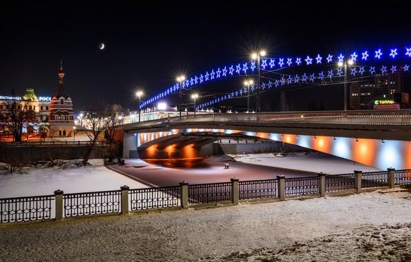 Картинка фото, Дома, Зима, Мост, Ночь, Город, Река, Россия, Гирлянда, Омск, Уличные фонари, Omsk