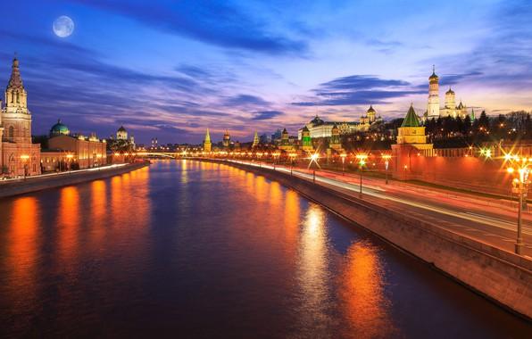 Картинка облака, ночь, город, огни, отражение, река, луна, здания, Москва, Россия, архитектура, набережная, мегаполис, центр, иллюминация, …
