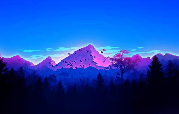 Картинка forest, Landscape, sky, trees, nature, mountains, birds, man, digital art, artwork, silhouette